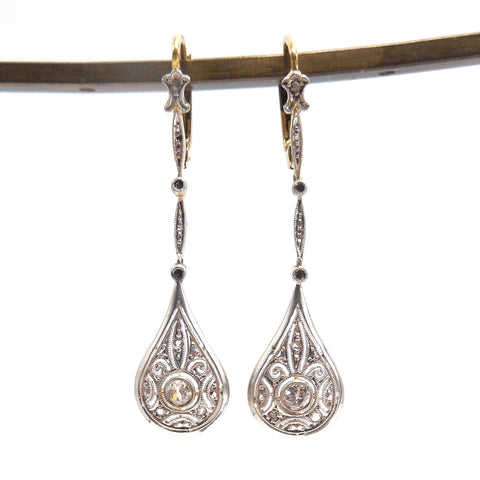 Edwardian Platinum and 18K Yellow Gold Drop Earrings with European and Rose Cut Diamonds