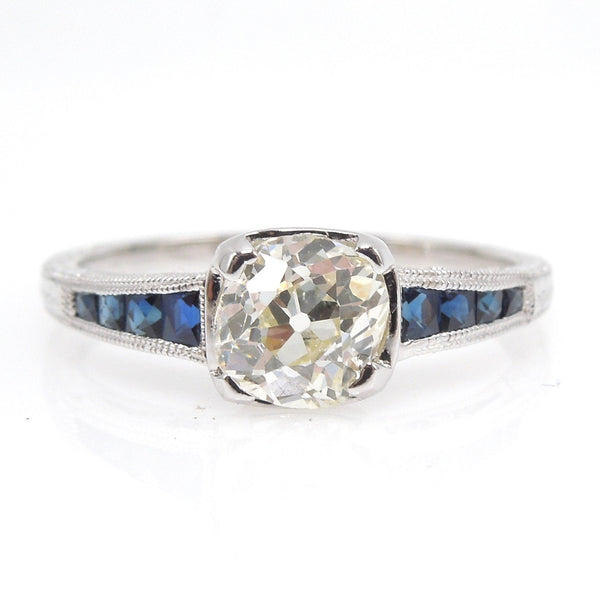 0.93ct Old Mine Cut in Art Deco Style Engagement Ring with French Cut Sapphires - White Gold