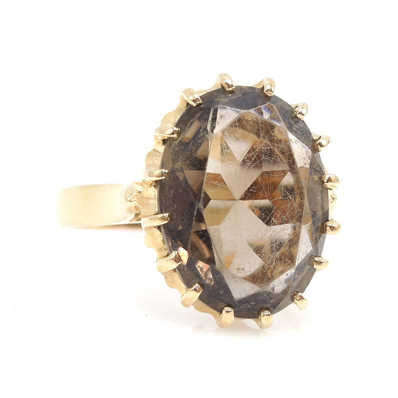 Estate Oval Smoky Quartz Cocktail Ring in 14K Yellow Gold
