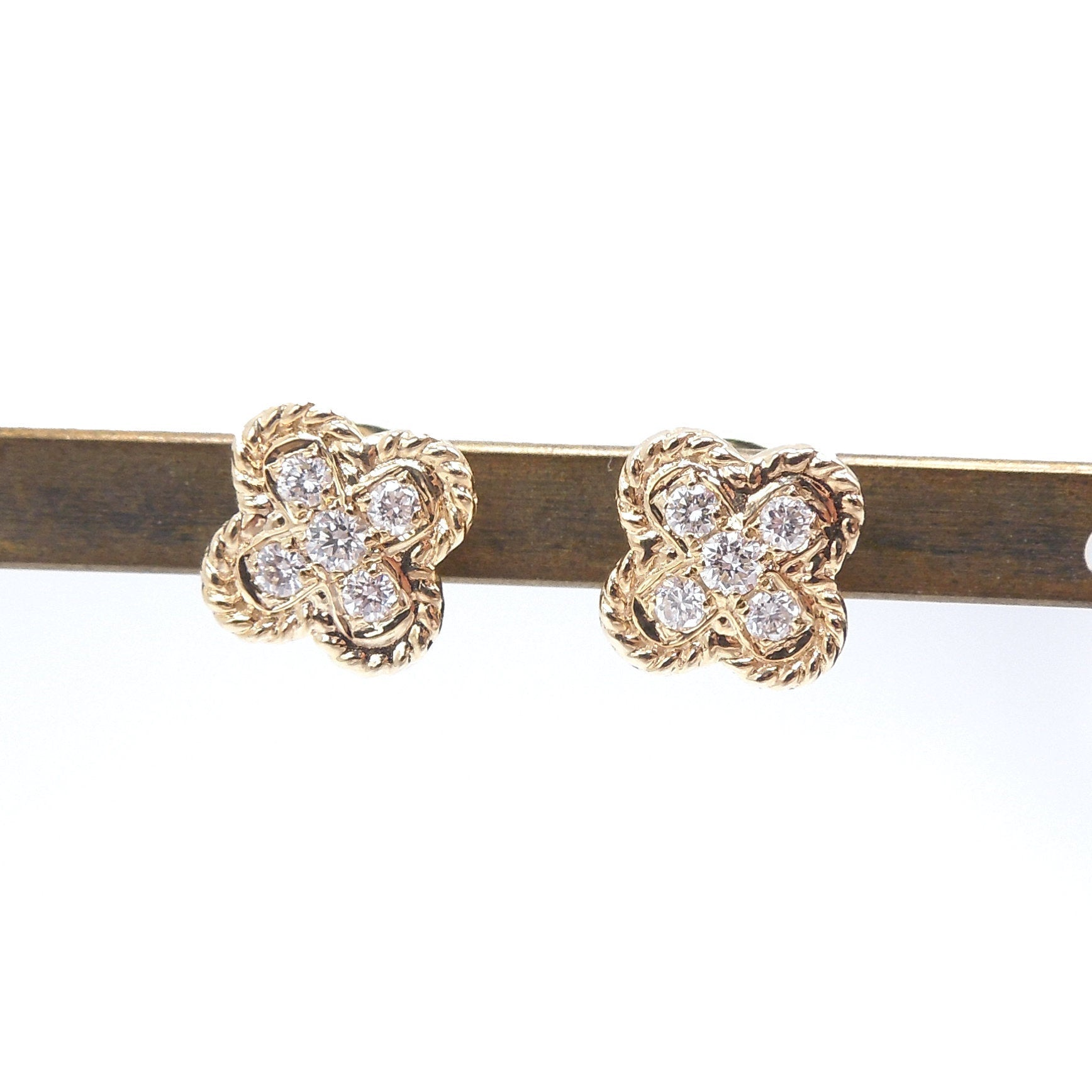 14K Yellow Gold and Diamond Floral Shaped Stud Earrings
