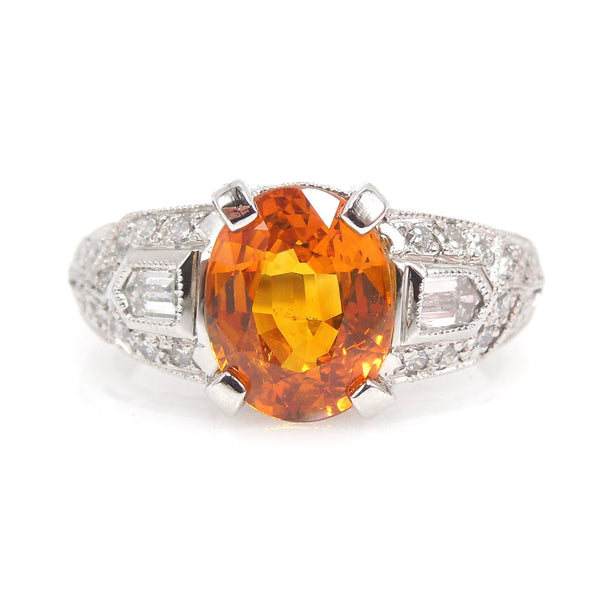 2.03 Carat Oval Cut Orange Sapphire in Art Deco Style Ring in Platinum