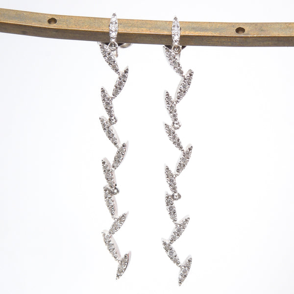 Roberto Coin White Gold and Diamond Zig Zag/Icicle Necklace and Earring Set