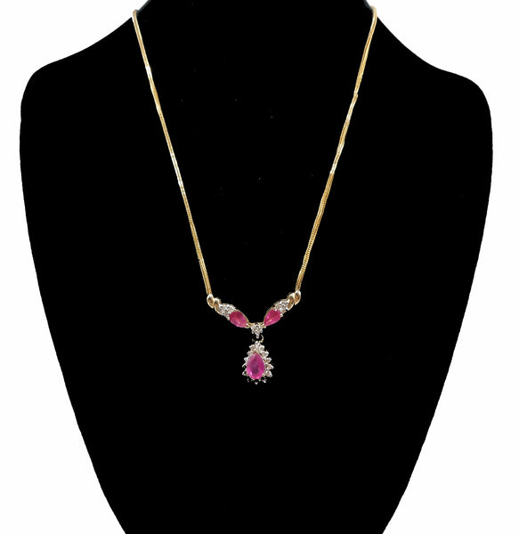 "Pear Shaped Ruby and Diamond Necklace on 16"" 14K Yellow Gold Chain"
