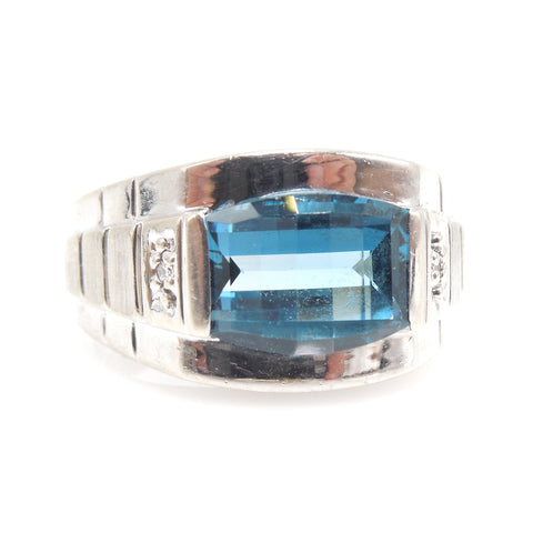 10K White Gold & Barrel Cut London Blue Topaz Man's Ring with Diamonds