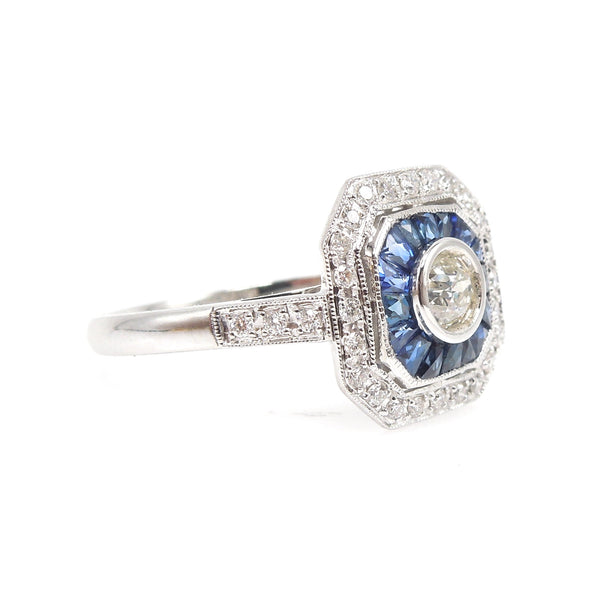 Art Deco Style Square White Gold & Diamond Engagement Ring with Sapphire and Diamond Double Halo