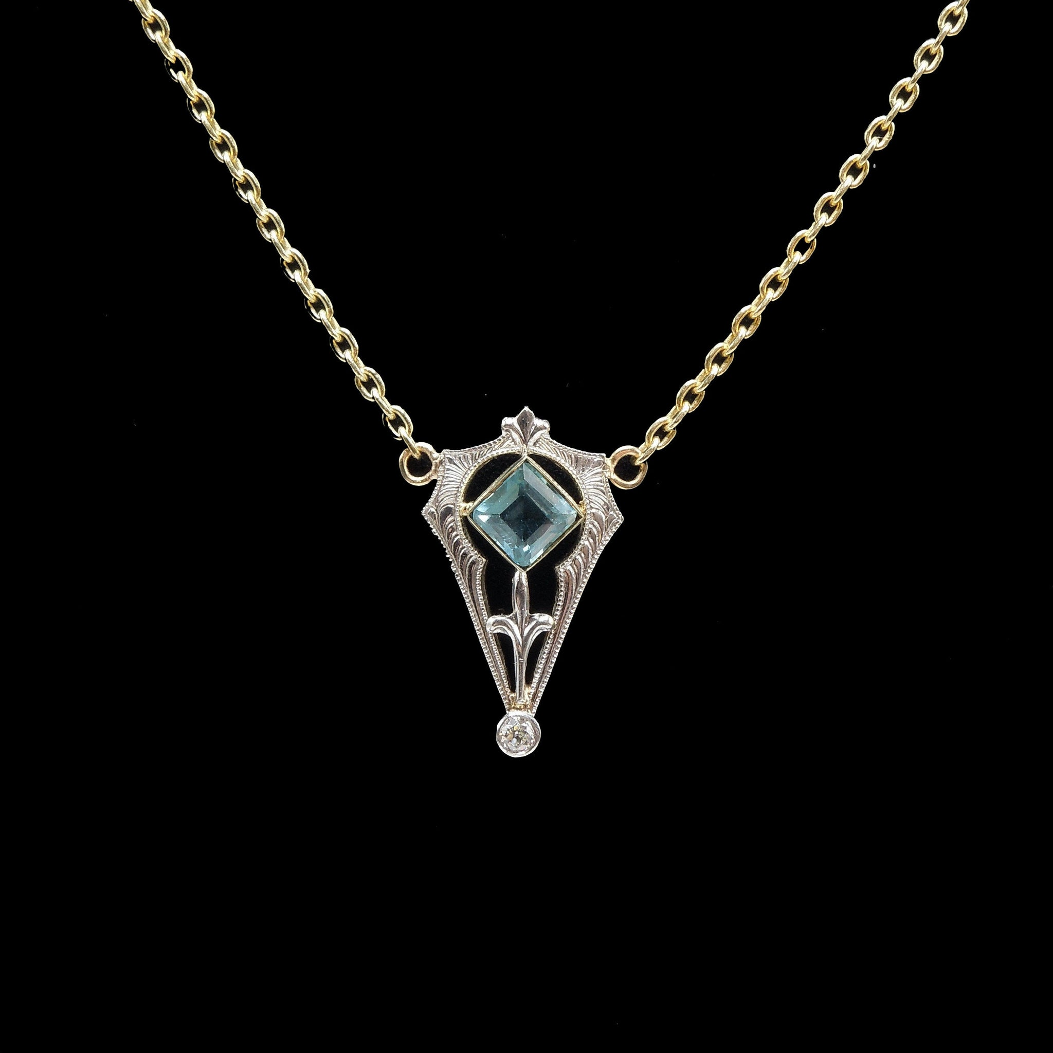 Antique (c. 1900) Edwardian 14K Gold and Platinum Necklace with Square Aquamarine