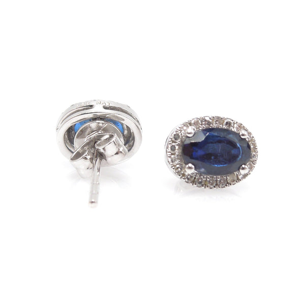 Oval 1.40ct Blue Sapphire Stud Earrings with Diamond Halo in White Gold