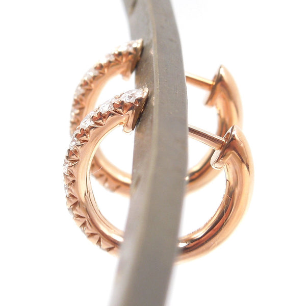 14K Rose Gold and Diamond Huggies - Petite Hoop Earrings