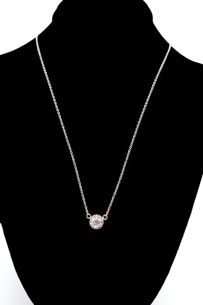 14K Rose Gold and Rose Cut Pinkish Brown Salt and Pepper Diamond Necklace