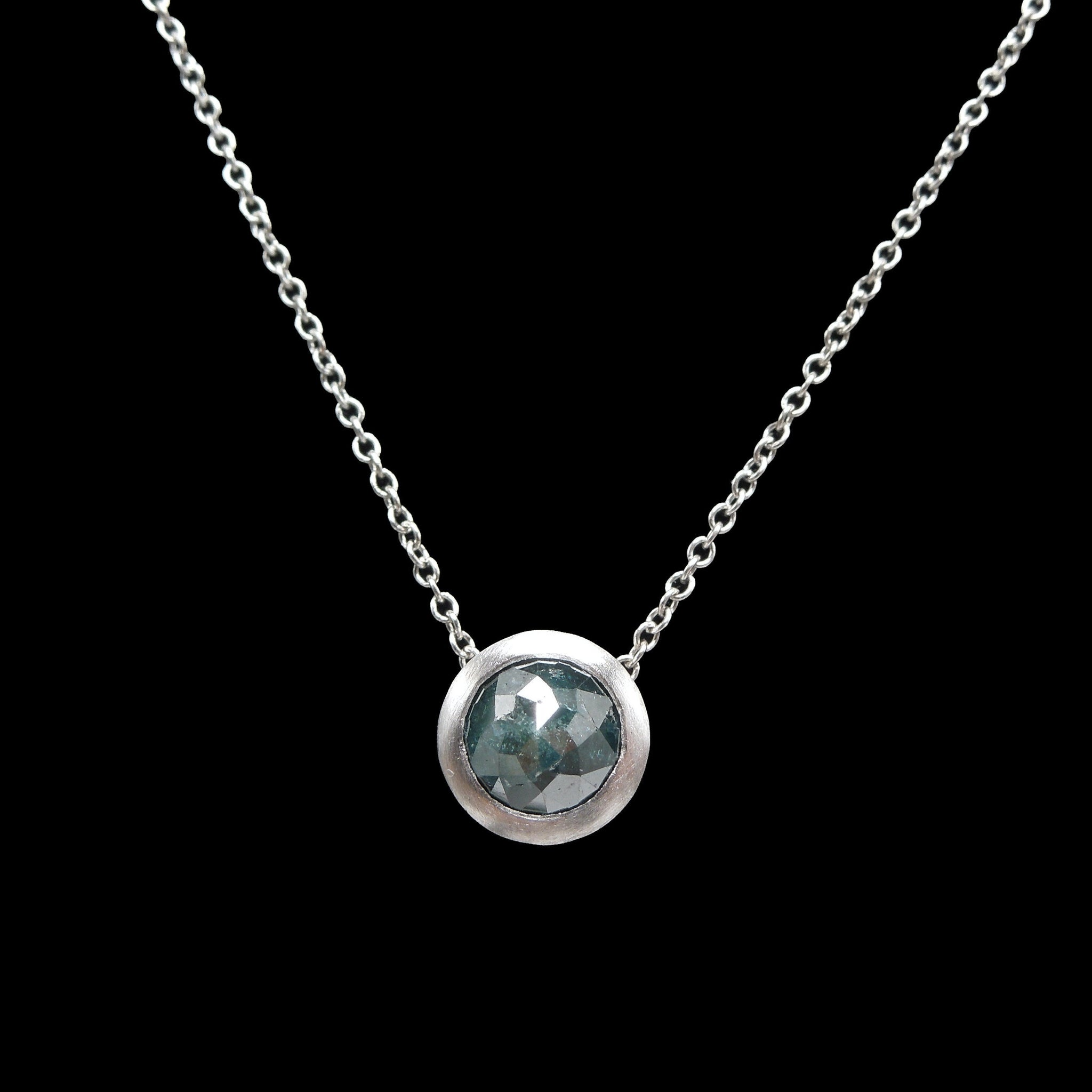 14K White Gold and Rose Cut Bluish Black Salt and Pepper Diamond Necklace