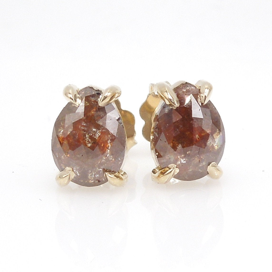 Brown Salt and Pepper Rose Cut Pear Shaped Diamond Stud Earrings in Yellow Gold