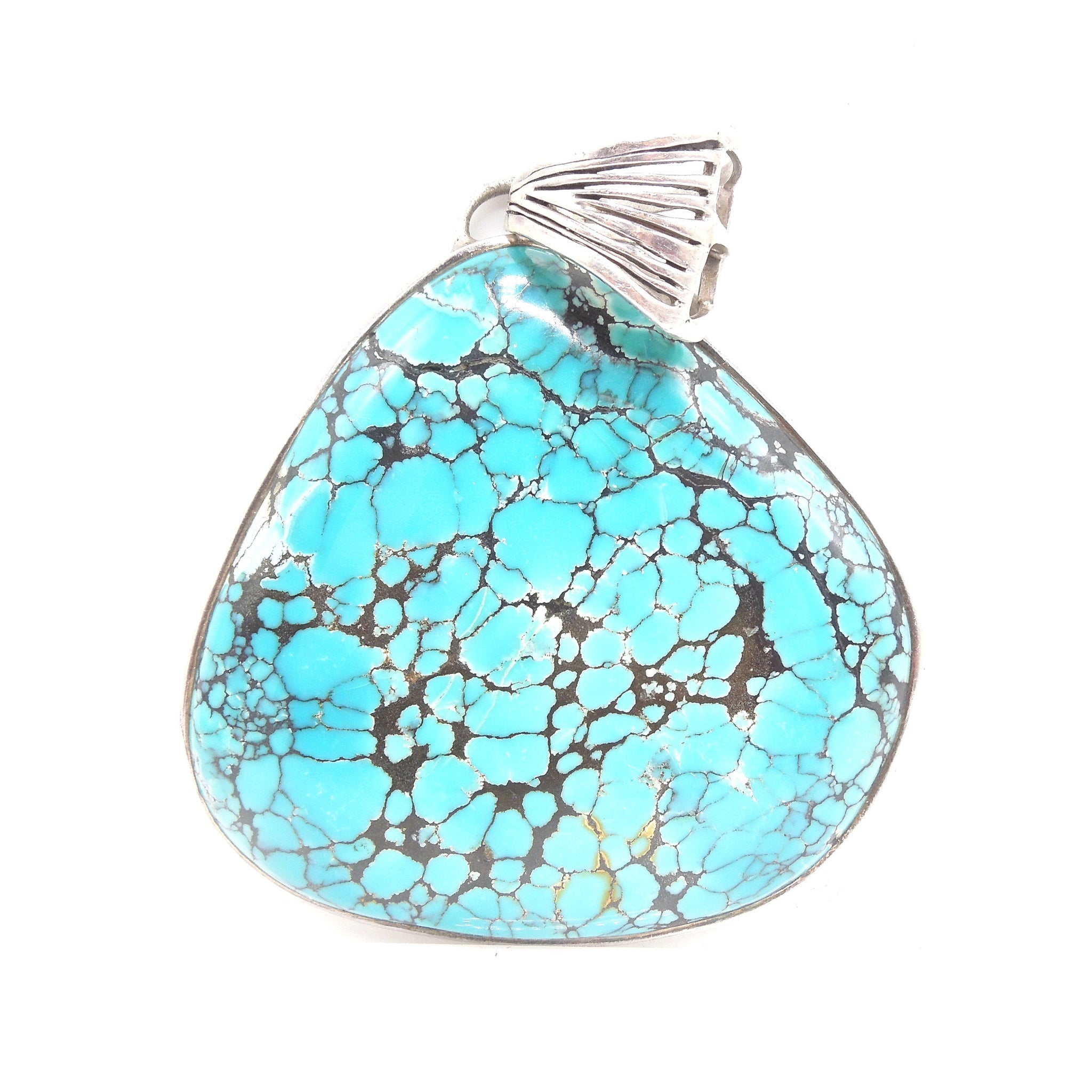 Large King's Manassa Turquoise and Sterling Silver Pendant