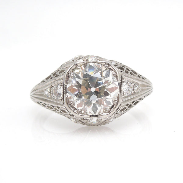 Original 1.47ct European Cut Diamond Art Deco Engagement Ring in Platinum