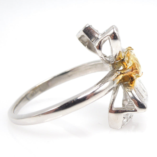 Fancy Natural Yellow Marquise Cut Diamond Butterfly Ring with Baguettes in Platinum