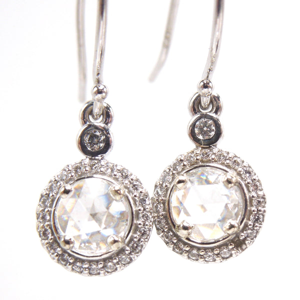 Rose Cut Diamonds and Diamond Halo Drop Earrings in 14K White Gold
