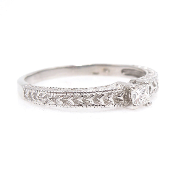 Art Deco Style 14K White Gold Band with Princess Cut Diamond