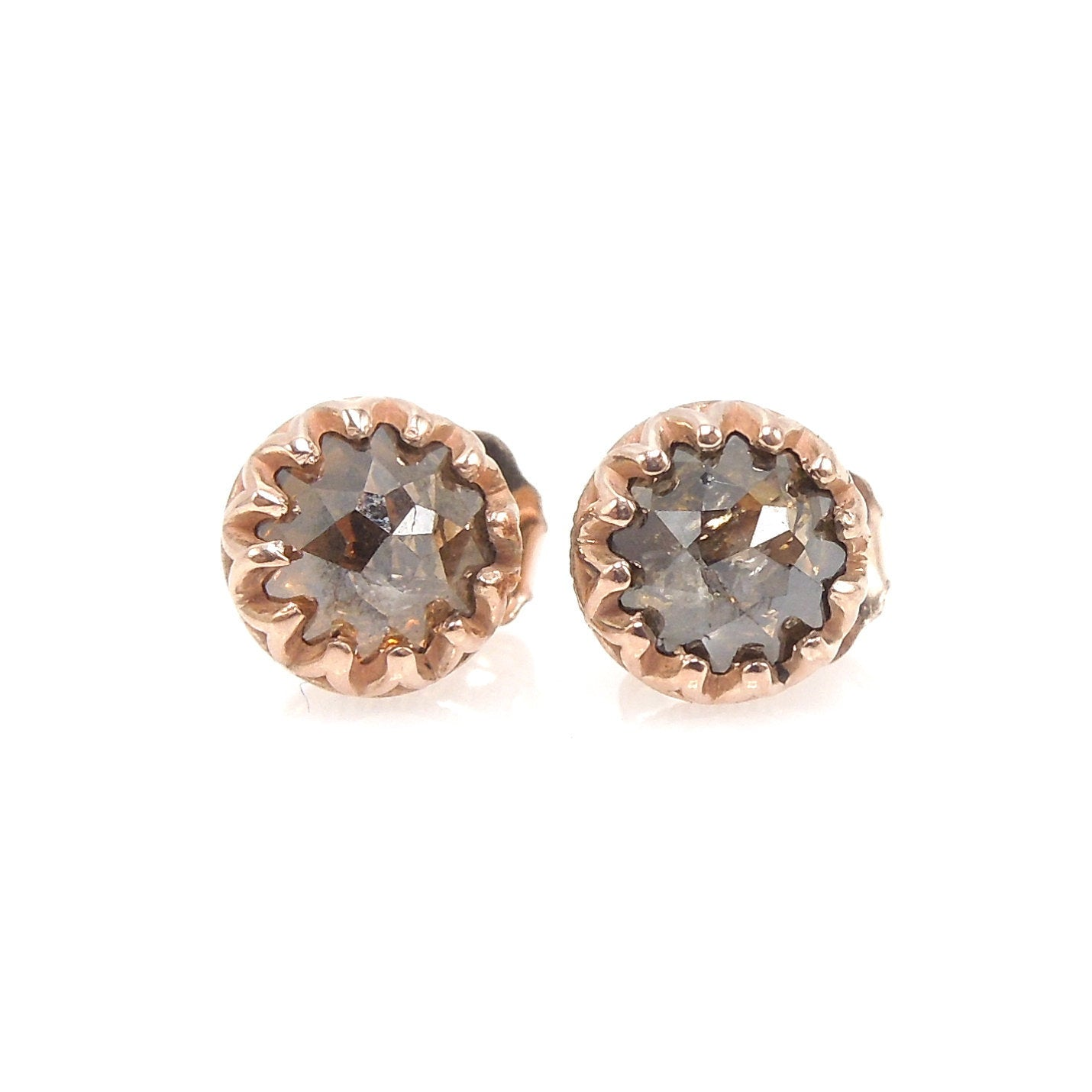 Brown Salt And Pepper Rose Cut Diamond Stud Earrings In Rose Gold A J Martin