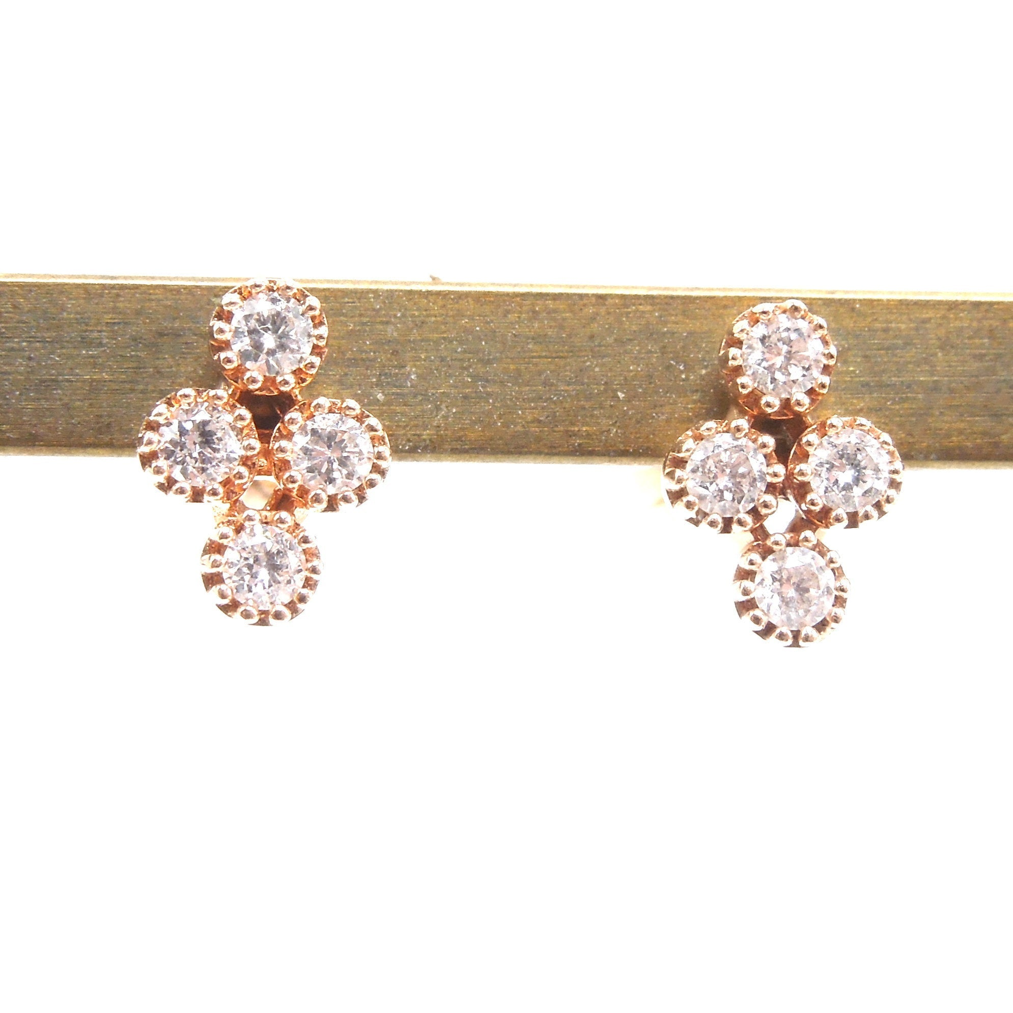 Rose Gold and Diamond Cruciform Stud Earrings