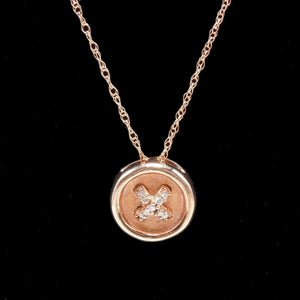 "Small Rose Gold and Diamond Button Pendant on 17.5"" Chain"