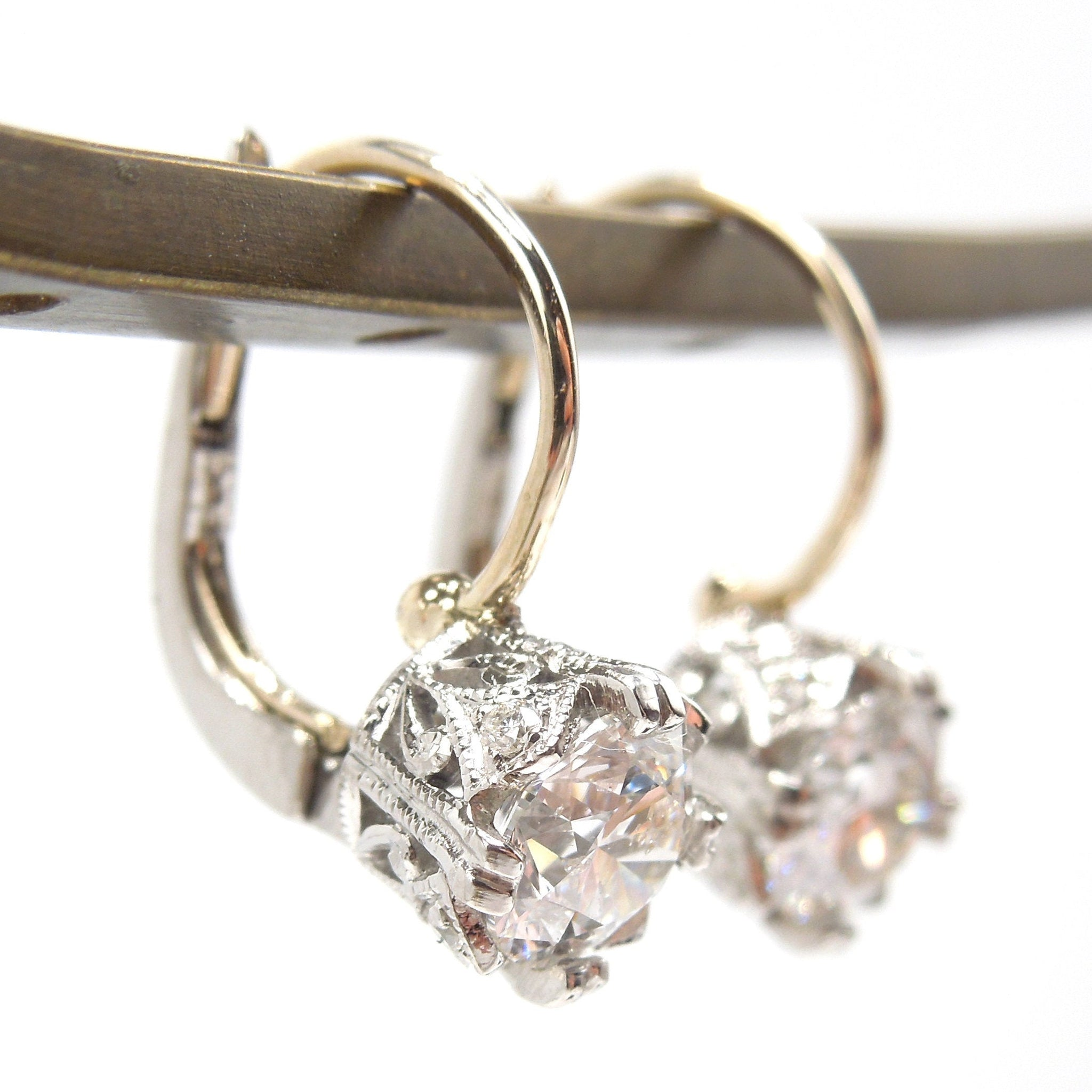 Edwardian Style Palladium 1.09ctw Lever Back Drop Diamond Earrings