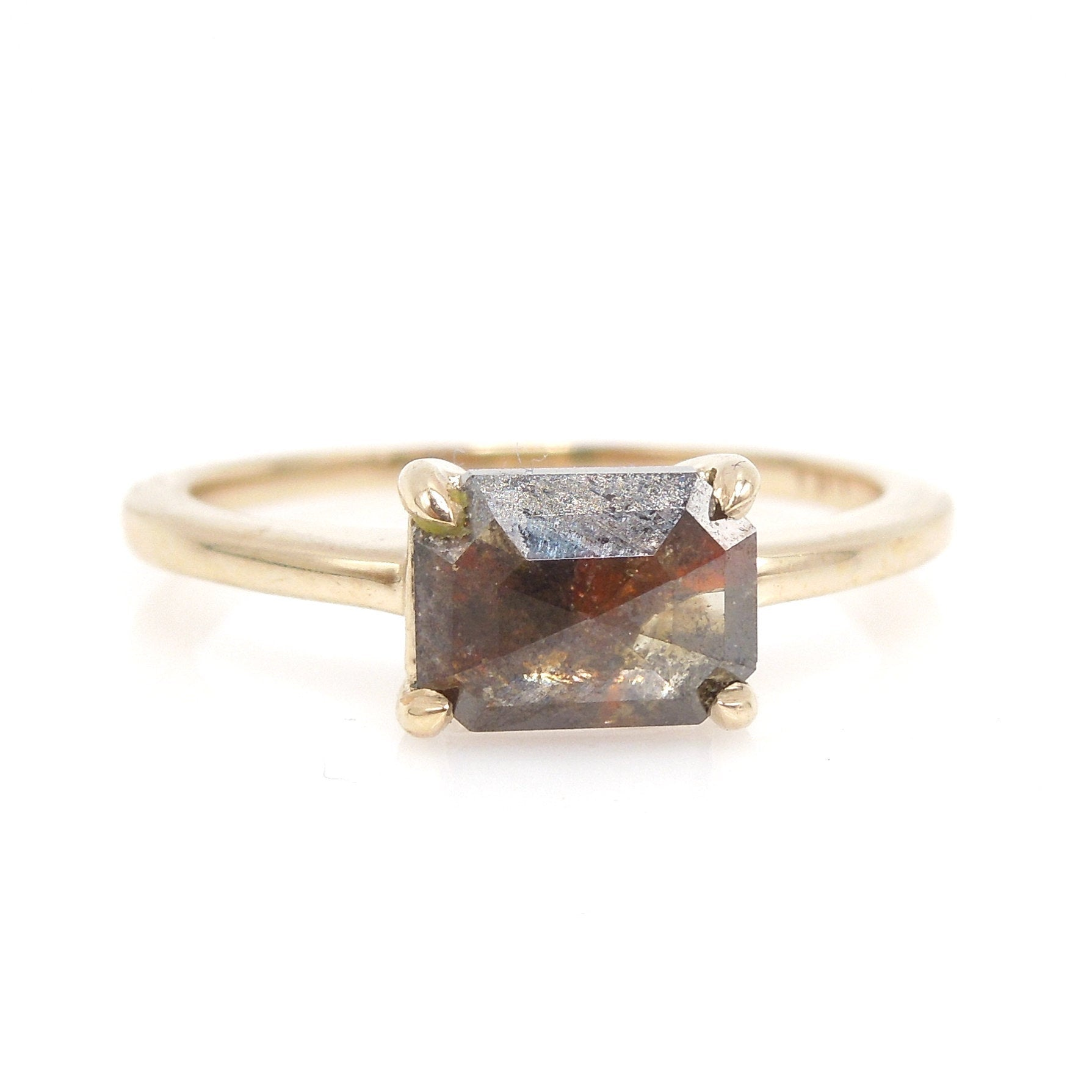 1.50ct Emerald Cut Brown Salt and Pepper Rose Cut Diamond Solitaire in 14K Yellow Gold