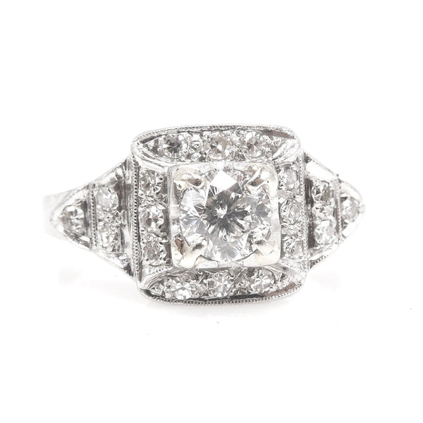 Square Topped Old European Cut Diamond Engagement Ring in Platinum - Art Deco - 1920s