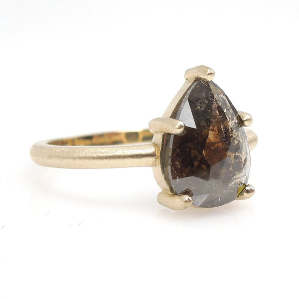 2.00ct Pear Cut Brown Salt and Pepper Rose Cut Diamond Solitaire in 14K Brushed Yellow Gold