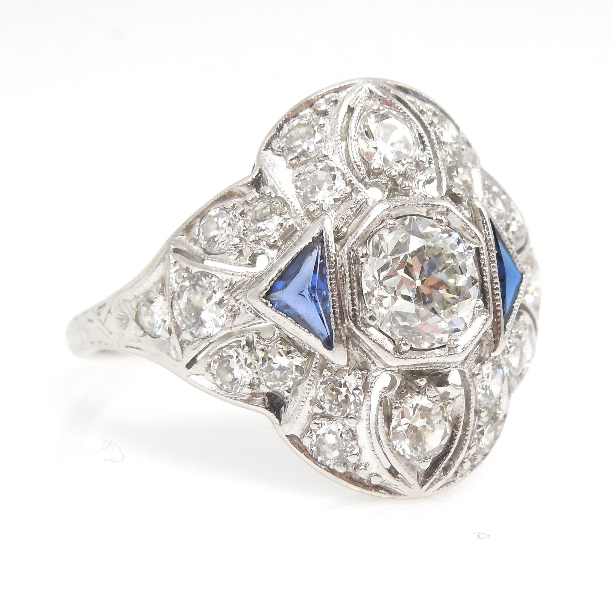 Wide Art Deco European Cut Diamond and Triangle Sapphire Ring in Platinum