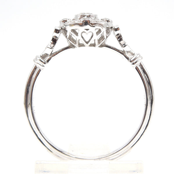 Petite Diamond Halo Engagement Ring - Art Deco Style in 14K White Gold
