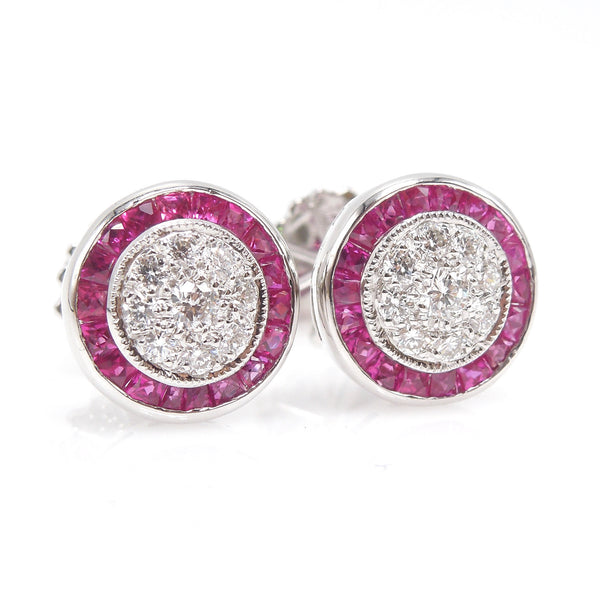 Diamond Cluster Stud Earrings with French Cut Ruby Halo in White Gold