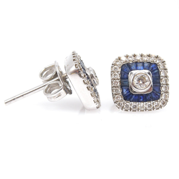 Square Cushion Shaped Diamond Earrings with Diamond and Sapphire Double Halo