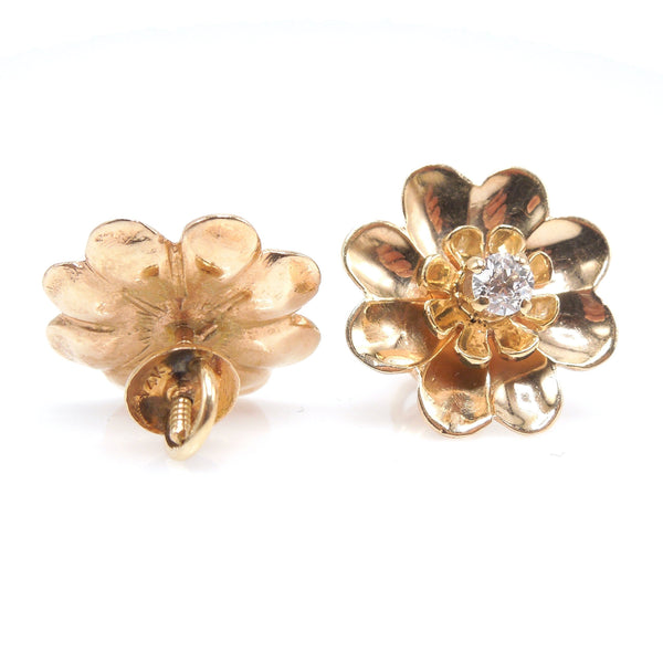 Antique 14K Yellow Gold Daisy Flower Screwbackj Earrings with European Cut Diamonds