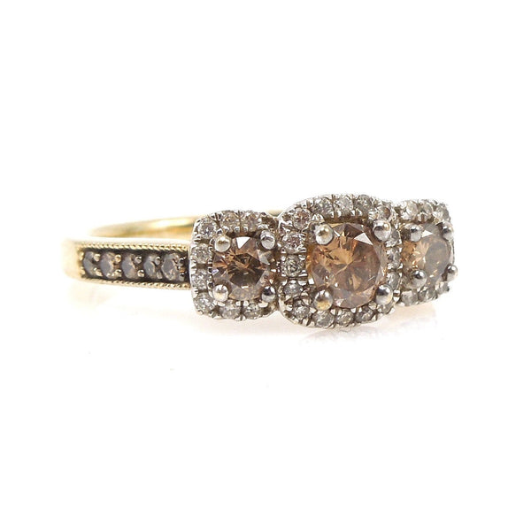 Three Stone Golden Brown Chocolate Diamond Triple Halo Engagement Ring