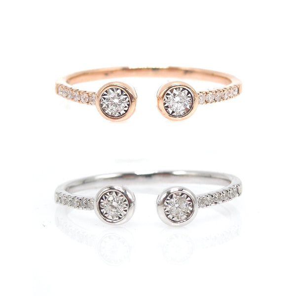 Open Double Diamond Ring with Diamonds Down the Band in Rose Gold and White Gold