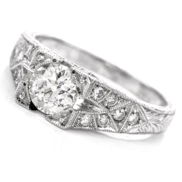 0.85ct Estate European Cut Diamond Platinum Filigree Engagement Ring