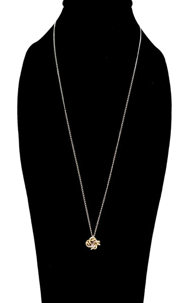 Victorian Twisted Gold Pendant with Old Mine Cut Diamond Necklace