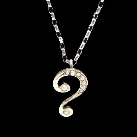 Victorian Yellow Gold and Seed Pearl Question Mark Pendant Necklace