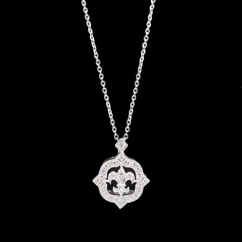 Petite Fleur-de-Lis Pendant on Dainty Rolo Chain - White Gold and Diamond