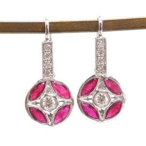Art Deco Style Ruby and Diamond Bicolor Gold Lever back Earrings
