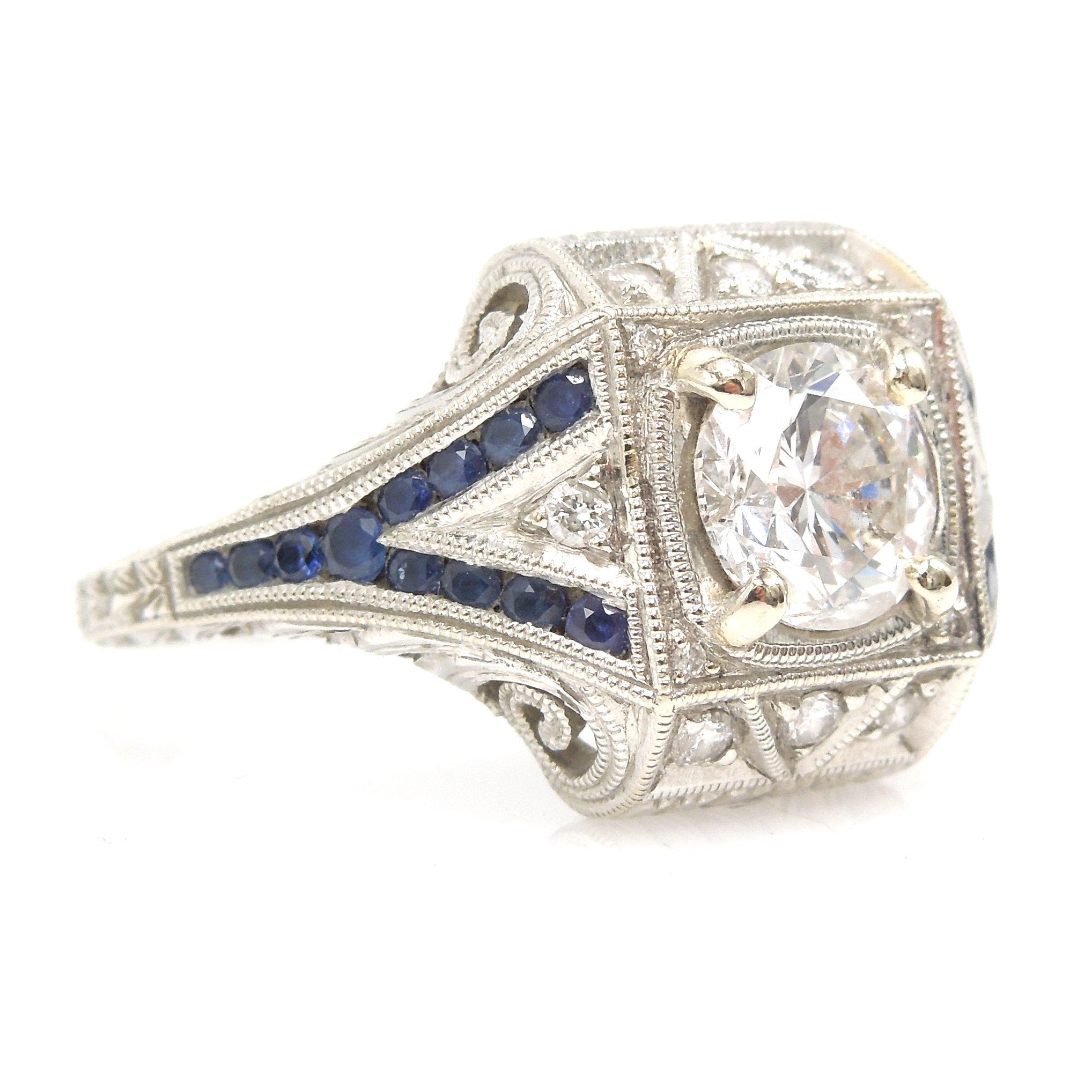 Art Deco Style 1.40ct Diamond Engagement Ring with Sapphire Accents in 14K White Gold