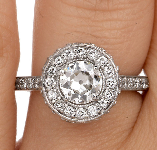 0.72ct European Cut Diamond in 14K White Gold Mounting with Diamond Halo - Engagement Ring