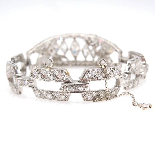 Edwardian Platinum Bracelet with Marquise and European Cut Diamonds