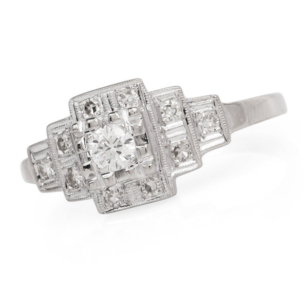 Vintage Geometric Square Shaped Diamond Engagement Ring in White Gold