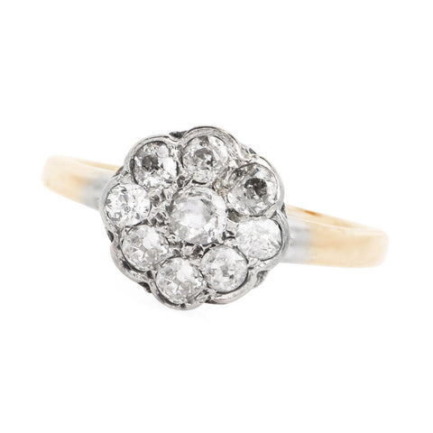 European Cut Floral Cluster Ring in Bicolor 14K White and Yellow Gold