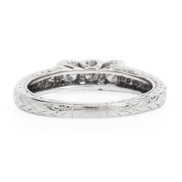 Engraved, 3-Stone Diamond Band - 14K White Gold