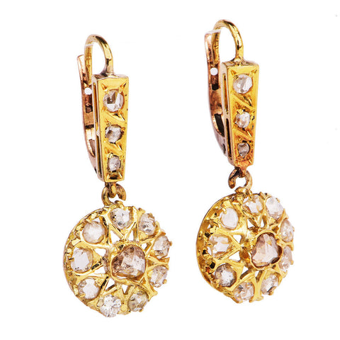 Estate 18K Yellow Gold and Rose Cut Diamond Starburst Drop Earrings