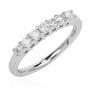 7-Diamond 14K White Gold Wedding Band with Half a Carat of Diamonds