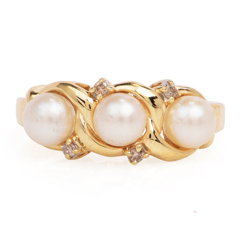Vintage Three Pearl and Diamond Ring in 14K Yellow Gold