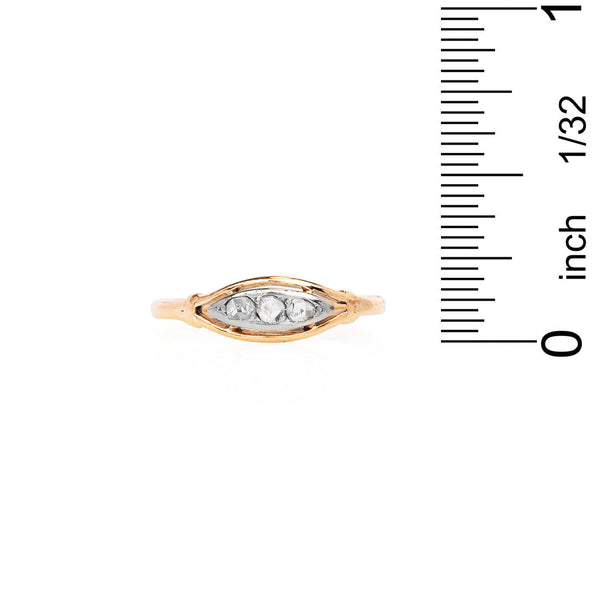 18K Bicolor Gold Almond Shaped Diamond Ring