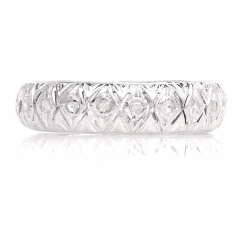 Wide Vintage Geometric Platinum and Diamond Eternity Band